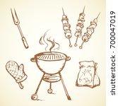 old round grate burn bbk device ... | Shutterstock .eps vector #700047019