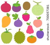 cute bright colors of fruits... | Shutterstock .eps vector #700057381