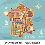 symbols of france in the form... | Shutterstock .eps vector #700058065