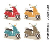 scooter motorbike retro icons.... | Shutterstock .eps vector #700059685