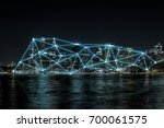 cyan line network and... | Shutterstock . vector #700061575