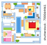 simple floor plan of a house... | Shutterstock . vector #700064461