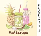 hand drawn fresh summer drinks... | Shutterstock .eps vector #700066171