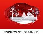christmas paper art. red tone...   Shutterstock .eps vector #700082044