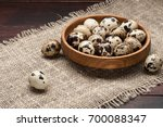 Quail Eggs In Wooden Plate Over ...