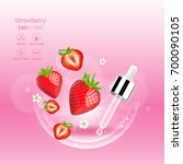 strawberry red serum extract... | Shutterstock .eps vector #700090105