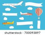 flying advertising banner.... | Shutterstock .eps vector #700093897