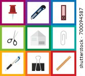 flat icon stationery set of... | Shutterstock .eps vector #700094587