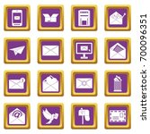 email icons set in purple color ... | Shutterstock .eps vector #700096351