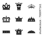 nobility crown icon set. simple ... | Shutterstock .eps vector #700097161