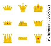 majestic crown icon set. flat... | Shutterstock .eps vector #700097185