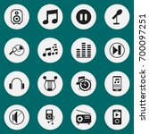 set of 16 editable melody icons....