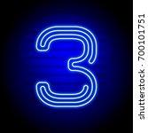 realistic blue neon numbers | Shutterstock . vector #700101751