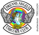 vector emblem.unicorns with... | Shutterstock .eps vector #700111624
