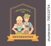 welcome to oktoberfest flat... | Shutterstock .eps vector #700123714