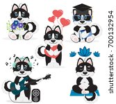 set of vector cute cartoon...   Shutterstock .eps vector #700132954