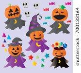 set jack pumpkin cartoon...   Shutterstock .eps vector #700133164