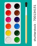 set of bright watercolor paints ... | Shutterstock .eps vector #700134151