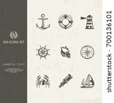 nautical objects and icons for... | Shutterstock .eps vector #700136101