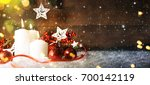 candels with christmas... | Shutterstock . vector #700142119