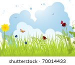 spring landscape with flowers ...