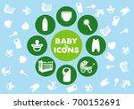 set of baby icons  crib  bottle ... | Shutterstock .eps vector #700152691