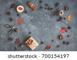 autumn composition. gift ... | Shutterstock . vector #700154197