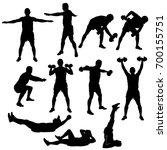 set of black vector silhouettes ... | Shutterstock .eps vector #700155751