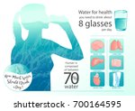 woman drinking glass of water.... | Shutterstock .eps vector #700164595