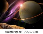 fantasy deep space planets - stock photo