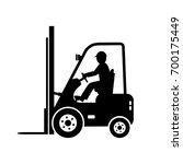black forklift truck vector... | Shutterstock .eps vector #700175449