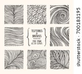 Hand drawn wavy linear textures made with ink. Artistic collection of graphic design elements: swirl, circle, wavy stripe, abstract line, organic background, geometric pattern. Isolated vector set. | Shutterstock vector #700183195