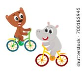 cute little hippo and bear ... | Shutterstock .eps vector #700183945