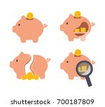 pig piggy bank with coins... | Shutterstock .eps vector #700187809