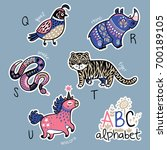 set of cute patch badges with... | Shutterstock .eps vector #700189105