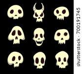 set of human and animal skulls. ...   Shutterstock .eps vector #700191745