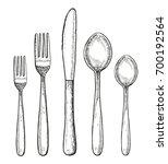 set of cutlery vector. spoon... | Shutterstock .eps vector #700192564