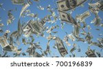 100 us dollar  bills flying on... | Shutterstock . vector #700196839