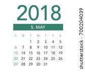 Simple May 2018 Calendar. Week...