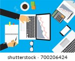 businessman working on laptop.... | Shutterstock .eps vector #700206424