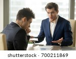 Small photo of Angry mean boss yelling at employee for missing deadline, executive manager scolding ineffective salesman showing bad work results, firing worker for failure, team leader dissatisfied with report