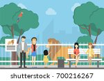 at the zoo. people with... | Shutterstock .eps vector #700216267