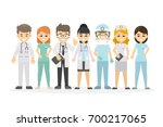 medical staff set. doctor and... | Shutterstock .eps vector #700217065