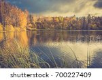 scenic autumn landscape with... | Shutterstock . vector #700227409