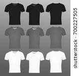 men v neck t shirt. black  grey ... | Shutterstock .eps vector #700227505