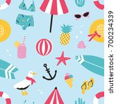 colorful summer seamless... | Shutterstock .eps vector #700234339