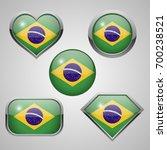 brazil flag icons. vector... | Shutterstock .eps vector #700238521