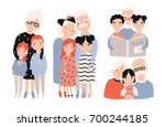 happy grandparents with... | Shutterstock .eps vector #700244185