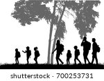 family reaching with backpacks... | Shutterstock .eps vector #700253731