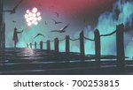 mysterious woman in cloak... | Shutterstock . vector #700253815